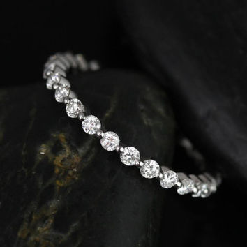 Naomi/Petite Bubble & Breathe 14kt White Gold Diamonds ALMOST Eternity Band (Other Metals Available)