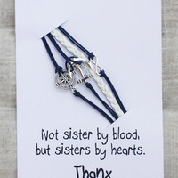 Not Sisters By Blood But Sisters By Hearts Card Unisex Anchor Infinity Sky Blue Firnedship Bracelet