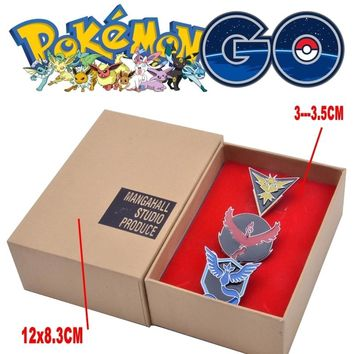 Mew Pokemon GO Team Valor Mystic Instinct Badges Metal Pins+Box Cosplay Collection Box