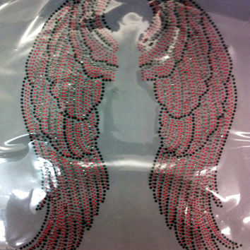 WINGS hot fix angel wings rhinestone iron on hotfix transfer - DIY hot fix shirts t-shirts tees custom -red and black applique
