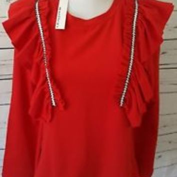 NWT Moelleux Sweatshirt Top Ruffled XS X-Small NEW Long Sleeve bell sleeves