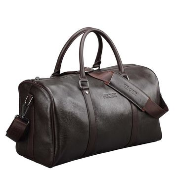 Fashion Genuine Leather Travel bag Men Large carry on Luggage bag Men leather duffle bag Overnight weekend bag big tote