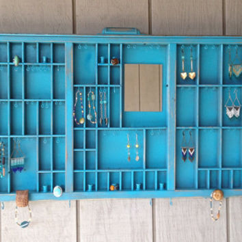 Turquoise Letterpress Jewelry Holder with Owl
