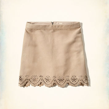 Laser-Cut Faux Suede Skirt