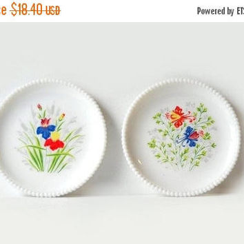 ON SALE - Westmoreland Milk Glass Plates, Set of 2 Beaded Edge Dishes, Columbine Flowers & Iris, Red White Blue Kitchen Decor