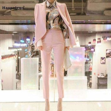 DCCKON3 two pieces set business pink formal suits jackets for Women work  long sleeve trouser suit nine pantsvestidos
