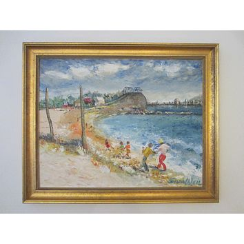 Selma Weil Untitled Impressionist Seascape Signed Oil On Board