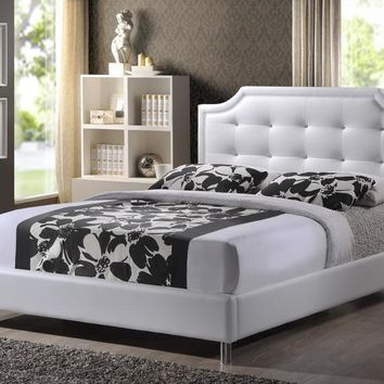 Baxton Studio Carlotta White Modern Bed with Upholstered Headboard - King Size Set of 1