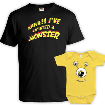 Daddy And Me Clothing Father And Son Shirt Dad And Daughter Matching Shirts Dad Gifts Ahh I've Created A Monster T Shirt Bodysuit MAT740-741