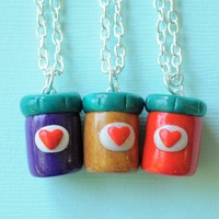 Handmade Three-Way Peanut Butter and Jelly Jars Best Friend Necklaces or Key Chains