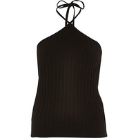 River Island Womens Black chunky ribbed halter neck top