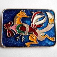 Fox with Cock, Badge Cockerel, Pin, Vintage USSR Rare Soviet metal collectible Pins