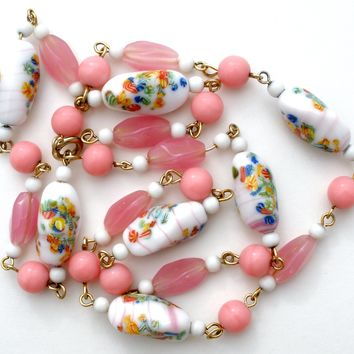 Pink & White Millefiori Bead Necklace Vintage 25""