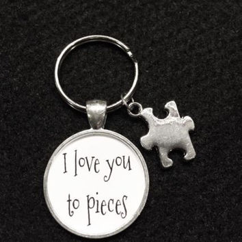 I Love You To Pieces Puzzle Piece Gift For Best Friends Sisters Autism Keychain