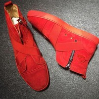 Christian Louboutin CL Suede Style #2244 Sneakers Fashion Shoes Best Deal Online