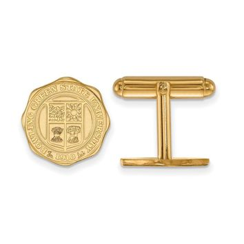 NCAA 14k Gold Plated Silver Bowling Green State Univ. Crest Cuff Links