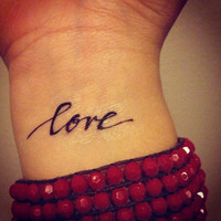 Temporary Handwritten Love Tattoo