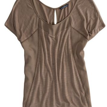 AEO Women's Paneled Eyelet T-shirt (Grey)