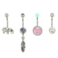 14G Steel Elephant Feather Navel Barbell 4 Pack