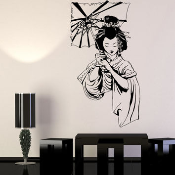Vinyl Wall Decal Geisha Japanese Girl Umbrella Asian Style Stickers Unique Gift (1187ig)