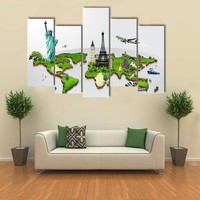 Travel The World Monuments Concept Multi Panel Canvas Wall Art