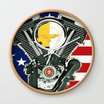 Portuguese Immigrant motorcycle Culture. Wall Clock by Tony Silveira