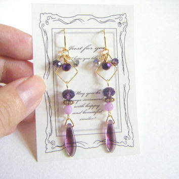 Violet earrings, czech tagger beads and square hoop earrings, violet dangle earrings, stylish earrings, purple jewelry, beaded earrings.