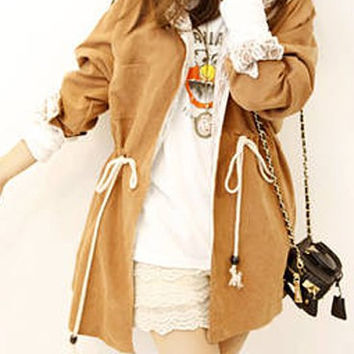 Khaki Hooded Lace Drawstring Trench Coat