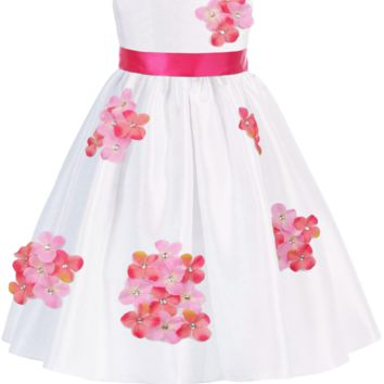 Coral Pink Dimensional Gem Beaded Flowers on White Shantung Occasion Dress (Baby Girls Sizes 3 to 24 Months)