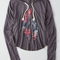 AEO Women's Soft & Sexy Graphic Hoodie T-shirt (Dark Grey)