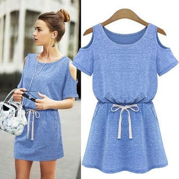 Women Summer Dresses European Style Fashion Brief Strapless A-Line Mini Casual Dress HQ1008 = 5617221569