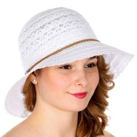 Floral Crochet Sun Hat With Braided String Band