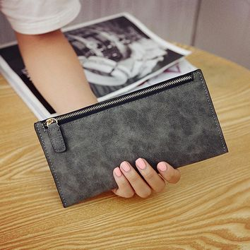 Scrub Matte Long Wallet Women Luxury Brand phone bag Womens Wallets And Purses Leather Clutches Solid Zipper