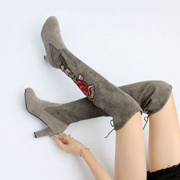 Brand New Women's Embroidery Over Knee High Boot Lace Up high heel Long Thigh Boots Sh
