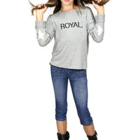 Butterflies & Zebras Gray Royal Long Sleeve Top | Mod Angel