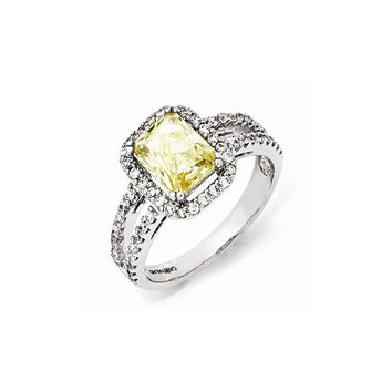 Sterling Silver CZ Canary Square Ring