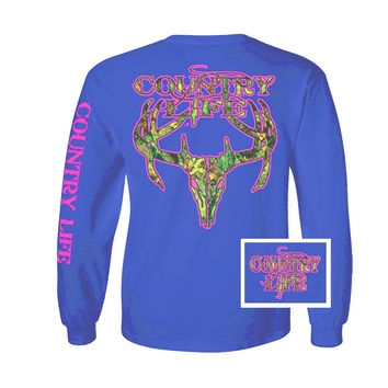 Country Life Outfitters Royal & Pink Camo Realtree Deer Skull Head Hunt Vintage Long Sleeve Bright T Shirt