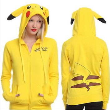 2016 Fashion Women Jacket Yellow Solid  Pikachu Printed Costume Tail Zip Totoro Hoodie Sweatshirt Sudaderas MujerKawaii Pokemon go  AT_89_9