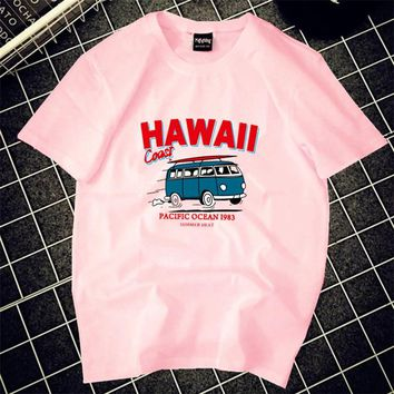 HAWAII bus letters woman t-shirt adventure time wanna one tee shirt life is strange korean style women couple t shirt for lovers