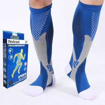 Medium Graguated Compression Knee High Socks for Men Quick Dry High Quality Calf Support 8813B