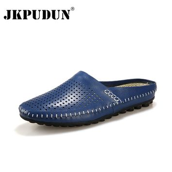 JKPUDUN Luxury Brand Summer Leather Men Flat Shoes British Casual Half Slippers Flip Flops Breathable Navy Studded Penny Loafers