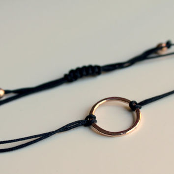 Rose Gold Friendship Bracelet Black Hammered Circle Karma Macrame Slide Knot