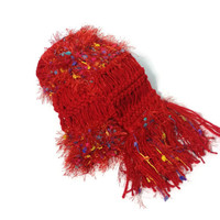 Rainbow Red Hand Knit Scarf