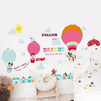 Cartoon Mickey Minnie Mouse balloon home decals wall stickers for kids room baby bedroom wall art nursery amusement park poster