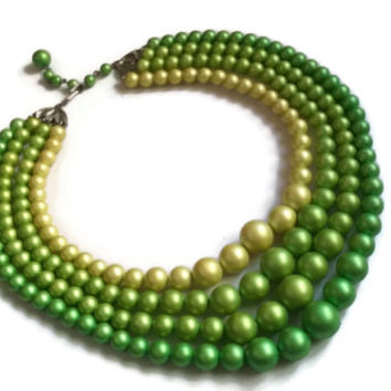"""Vintage Lucite Necklace - 1950's Green Matte Lustrous Pearl 4-Strand Necklace - 16"""" extends to 18.5"""""""