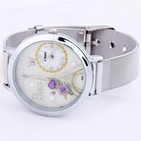 New Fashion Women Round Dial Stainless Steel Mesh Paris Eiffel Tower Gift Butterfly Quartz Wrist Watch Free Shipping
