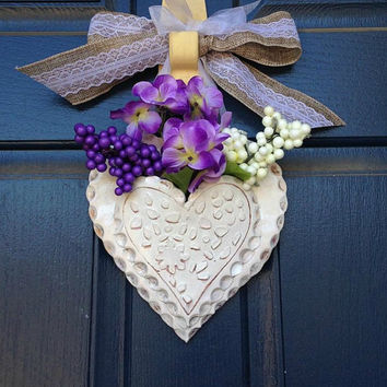 Floral Decor - Ceramic Wall Pocket - Heart Planter - Heart Wall Pocket - Ceramic Planter - Planter - Cottage Chic Decor - Shabby Chic Decor