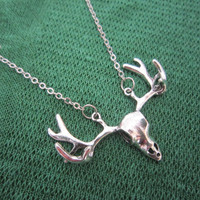 Copper Chain / Antiqued Silver Deer Antlers Necklace, Moose Antlers Necklace / Long Sweater Necklace
