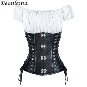 Corset Underbust Steampunk Gothic Clothing Lace up Corsage Corselet Crop Top 2 PCS Set Waiste Trainer Corsets and Buisters