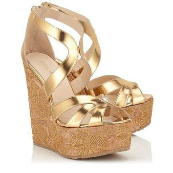 Jimmy Choo Women Fashion Platform Sandals Heels Wedge Shoes